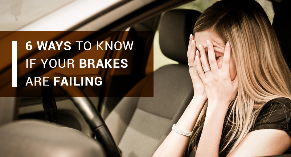 blog image of a driver covering her face while sitting in her vehicle; blog title: 6 WAYS TO KNOW IF YOUR BRAKES ARE FAILING